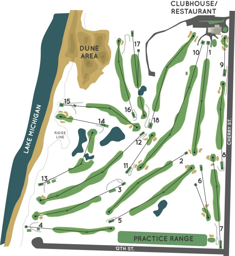 mgcc-course map Manistee Golf and Country Club located on the Shores of Lake Michigan