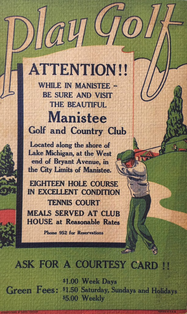 old ad of Manistee Golf and Country Club located on the Shores of Lake Michigan